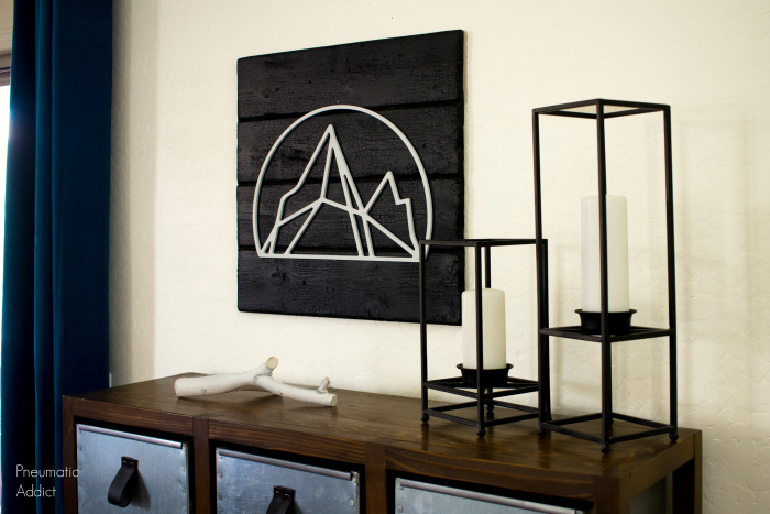 Modern Mountain Geometric Charred Wood Art Diy WM